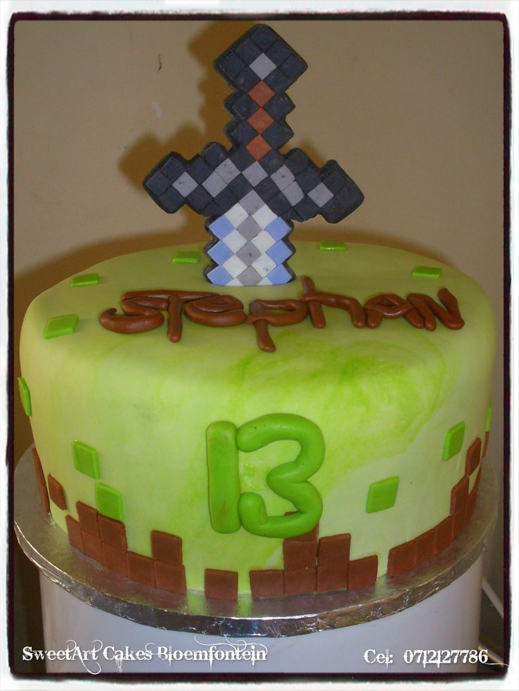 MINE CRAFT SWORD CAKE  For more info  & orders, email SweetArtBfn@gmail.com or call 0712127786. Connect with us on Facebook:  https://www.facebook.com/SweetArtCakesBfn