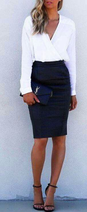 I love the crisp white top especially with the blue skirt. I think this top could go with alot color wise