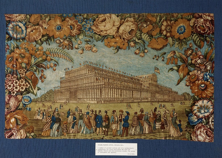 This printed cotton panel commemorates the Great Exhibition of 1851, housed in Crystal Palace, a giant iron and glass structure erected in Hyde Park. The Great Exhibition of the Industry of All Nations showed exhibits from all over the world and promoted the achievements of British manufacture. Textiles and textile machinery were displayed throughout, including silks, cottons, tapestries, floor cloths, lace and embroidery.