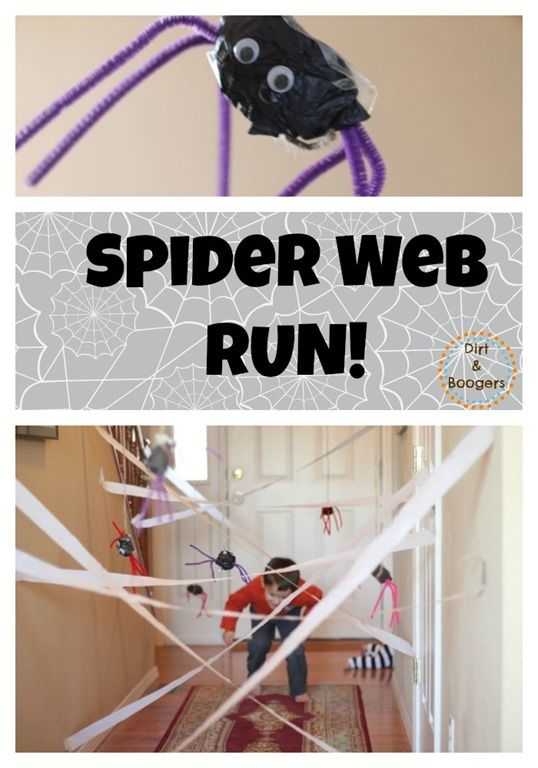 Spider Web Run, Halloween activities for kids,