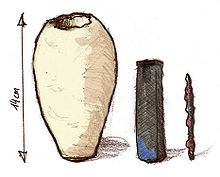 The Baghdad Battery, sometimes referred to as the Parthian Battery, is the common name for a number of artifacts created in Mesopotamia, during the dynasties of Parthian or Sassanid period (the early centuries AD), and probably discovered in 1936 in the village of Khuyut Rabbou'a, near Baghdad, Iraq.