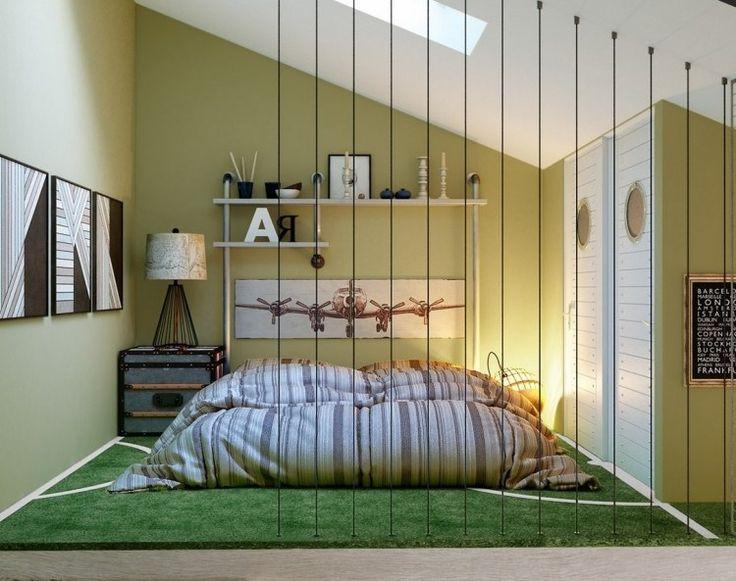 Jugendzimmer mit Dachschräge - hellgrüne Wandfarbe und Vintage Deko