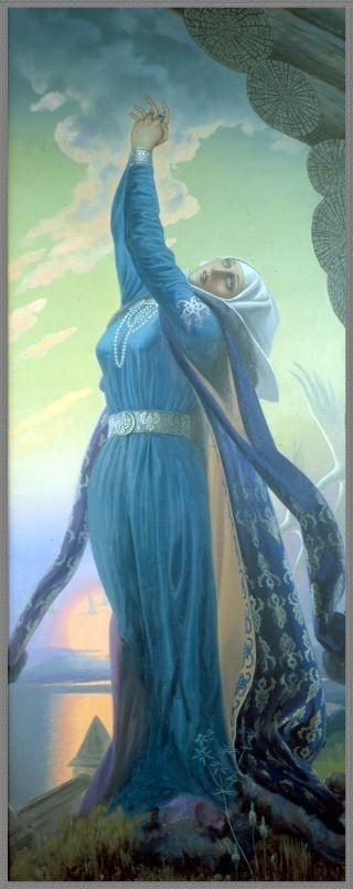 Константин Васильев. Плач Ярославны.-Russia ancient but not forgotten as light fairy tale. Artist Konstantin Vasiliev .Prayer of duchesses