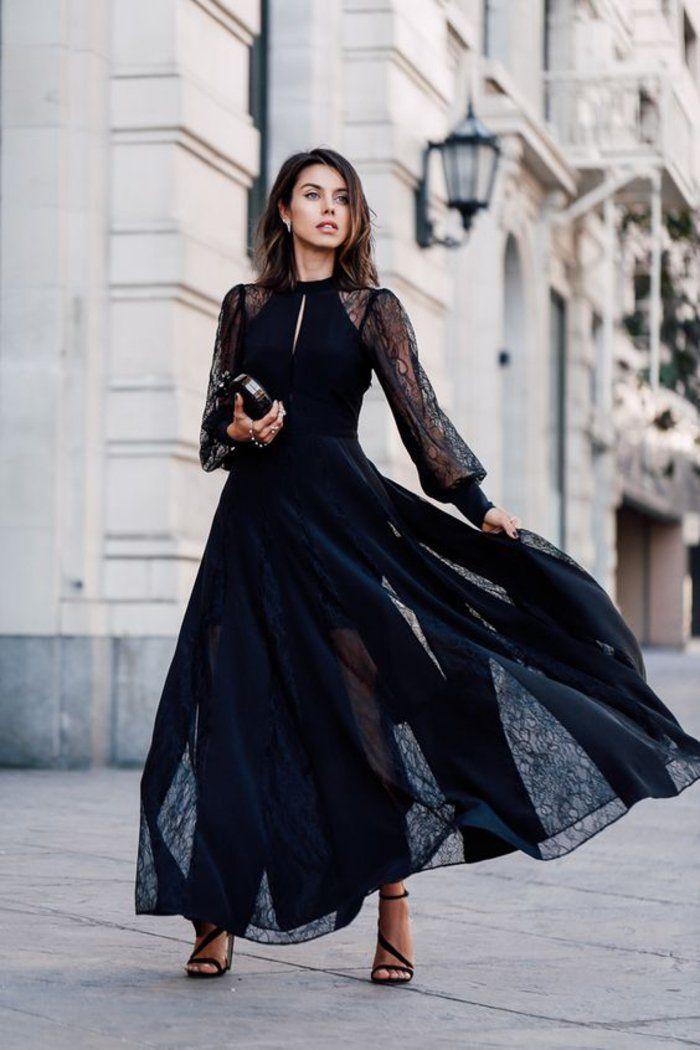 sommer kleid mit spitzem lang und breit, schwarze pumps und clutch