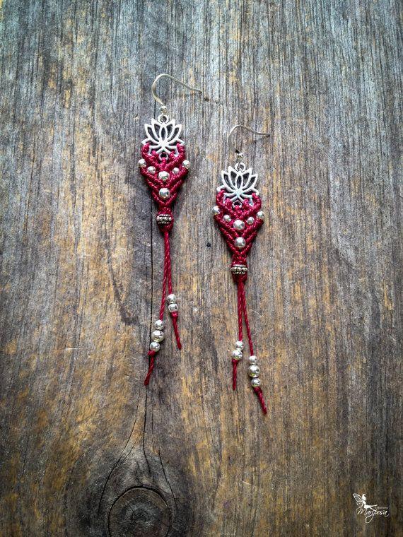 Boucles d'oreilles lotus argenté macramé bijoux yoga Bohème chic par Créations Mariposa
