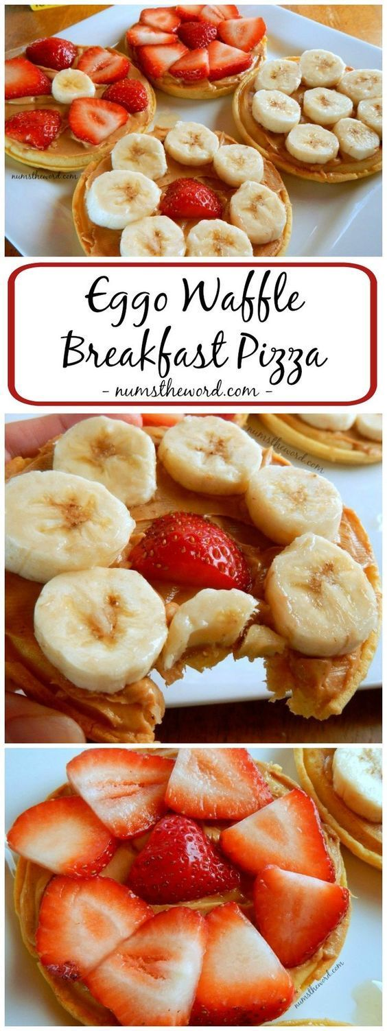 Need an easy, healthy, on the go breakfast?  This Eggo Waffle Breakfast Pizza takes 5 minutes or less to whip up, has 4 ingredients & is a healthy, easy, car friendly breakfast!