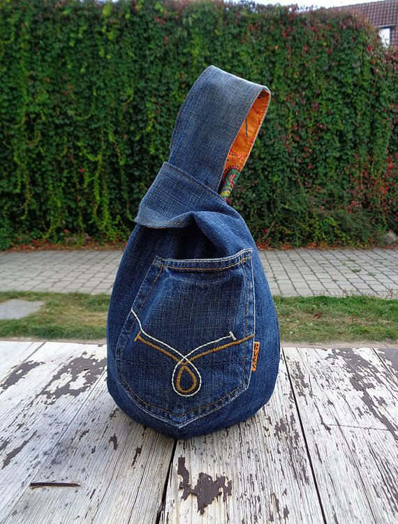 Denim japanese knot wristlet clutch mini bag pouch by BukiBuki