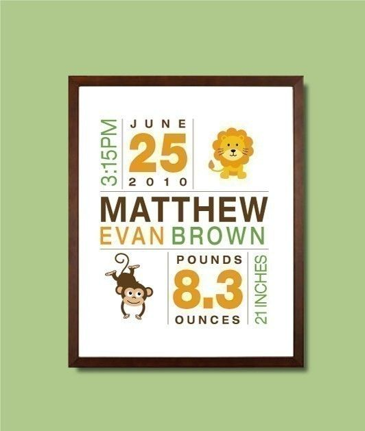 Baby Birth Print Birth Announcement Nursery Wall by potatopatch