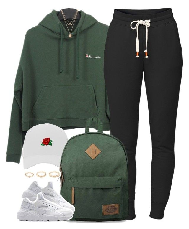 """1 3 7 8 • champion x nike"" by cheerstostyle ❤ liked on Polyvore featuring Forever 21, Lija, Dickies and NIKE"