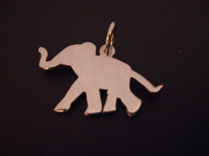 sterling silver baby elephant pendant 25mm x 20mm handmade 925, £14.99