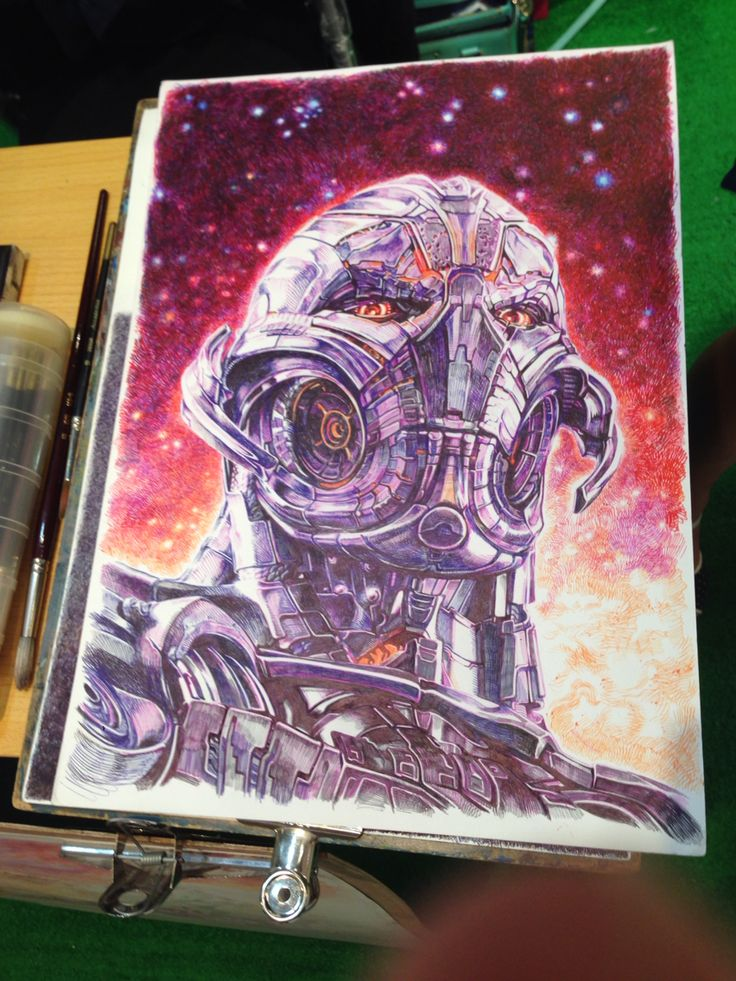 Ultron drawn using pens by Hong Kong artist Law Sir. #marvel #ultron #ageofultron