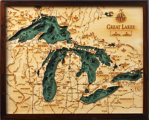 Laser cut map of the Great Lakes. Saw this in person once and it was GORGEOUS. Definitely need to get it one day