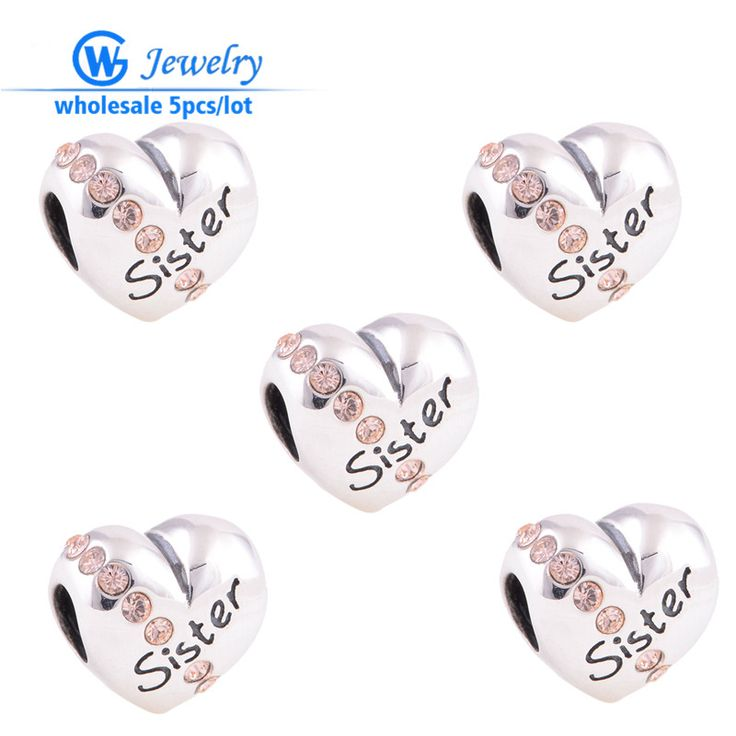 5pcs/lot genuine 925 sterling silver DIY European brand sister charms heart sister bracelet GW fine jewelry X121AH15