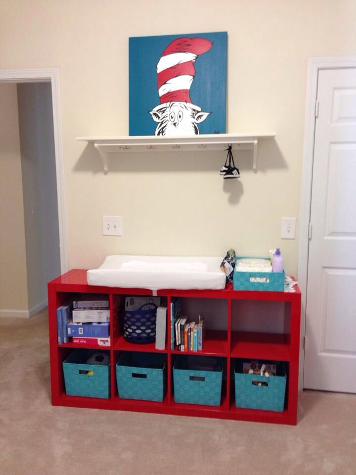 Cat in the Hat Nursery; Ikea storage unit fits a changing pad perfectly