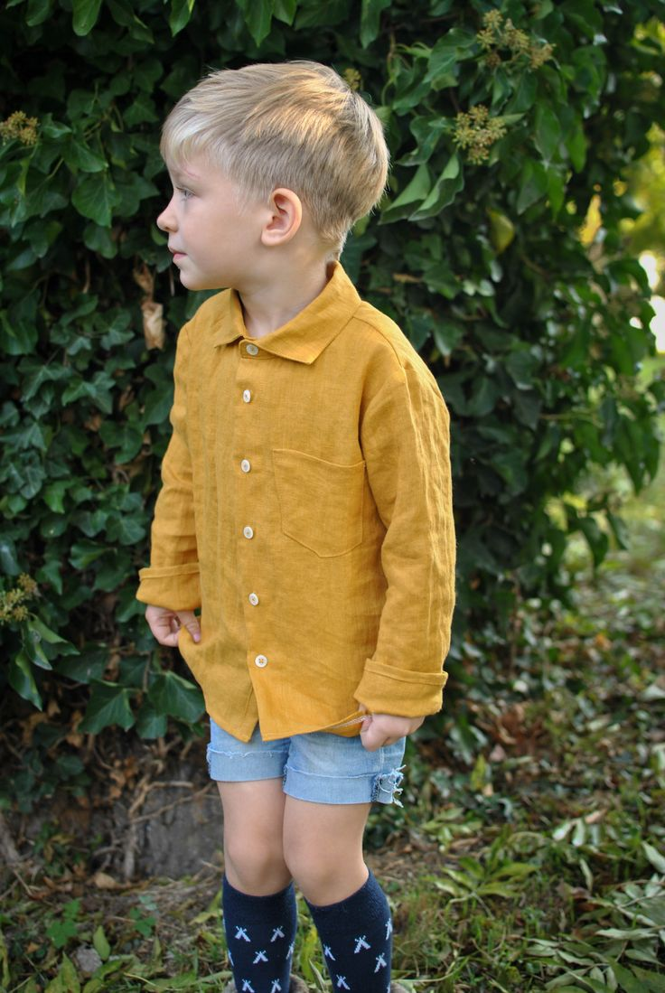 Mustard linen shirt for boys