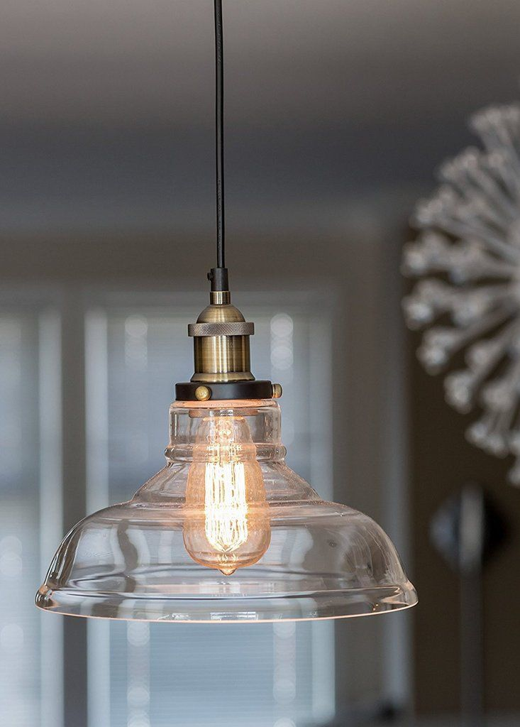 "Glass Pendant Light ""The Loft"" with Vintage Edison Light Bulb #vintagekitchen"