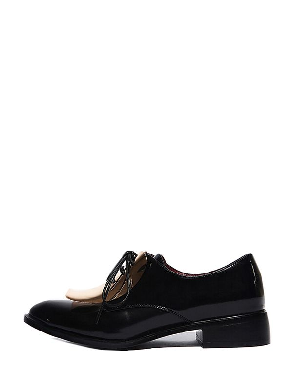 British Style Point Toe Metal Leather Kitten Heels