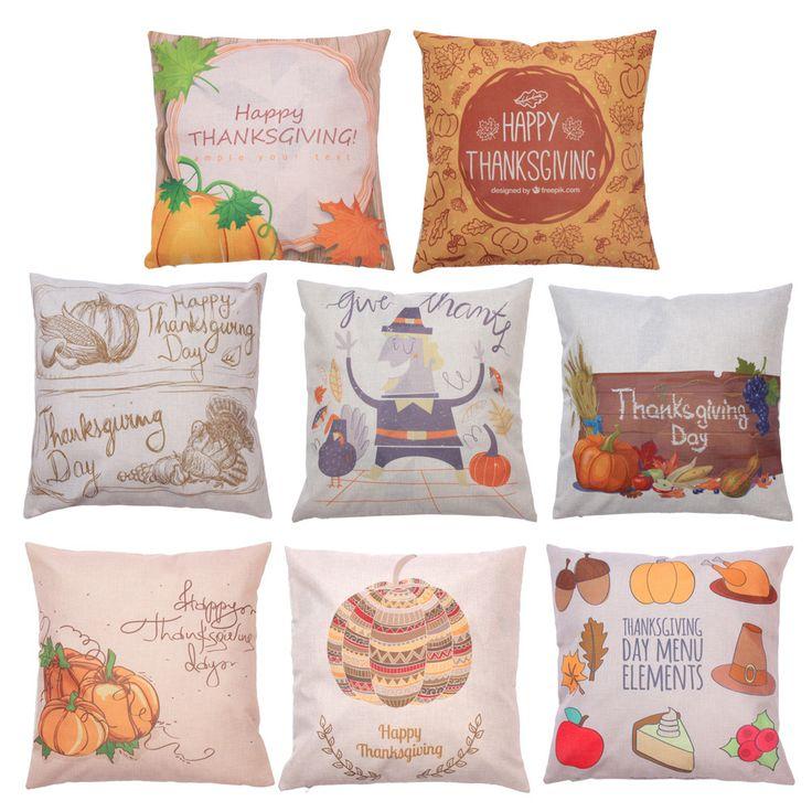 45cm * 45cm Pillowcase Creative Halloween Thanksgiving Day Pumpkin Head Pattern Cotton Hidden Zip Comfortable Pillow Case Cover #Affiliate