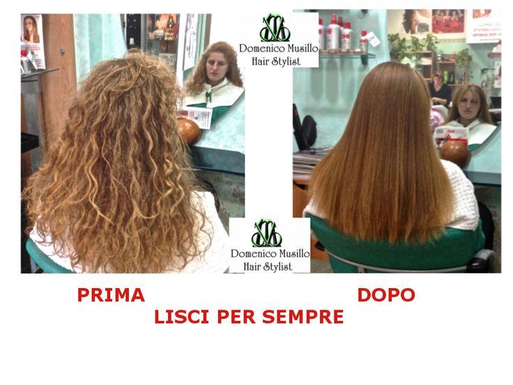 Prima e dopo la stiratura biologica dei capelli  eseguita in salone