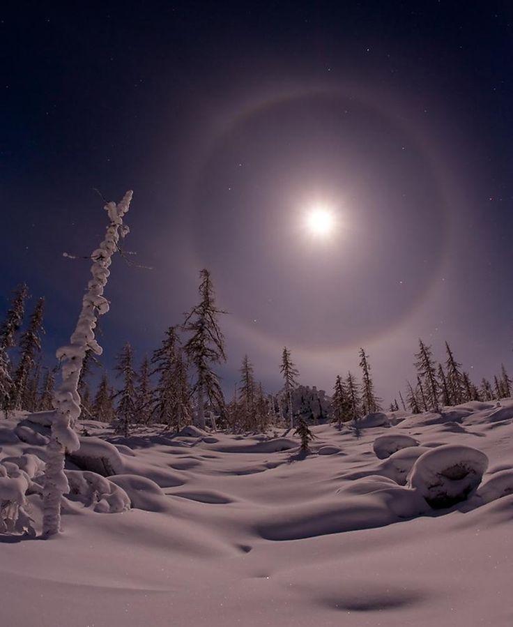 Great Halo Night in Yakutia Siberia Russia