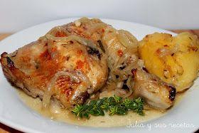 pollo encebollado, pollo guisado con cebolla, pollo en salsa, recetas de pollo en salsa, recetas de pollo guisado, Julia y sus recetaas