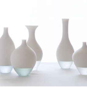 Misa Tanaka Glass and porcelain...this goes with any color scheme and I love the twist of the bottom being clear rather than all white.