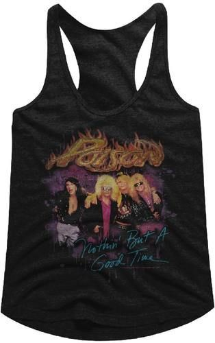 Poison Rock Band Vintage Tank Top T-shirt - Poison Nothin' but a Good Time Song Single Album Cover Artwork | Women's Black Shirt