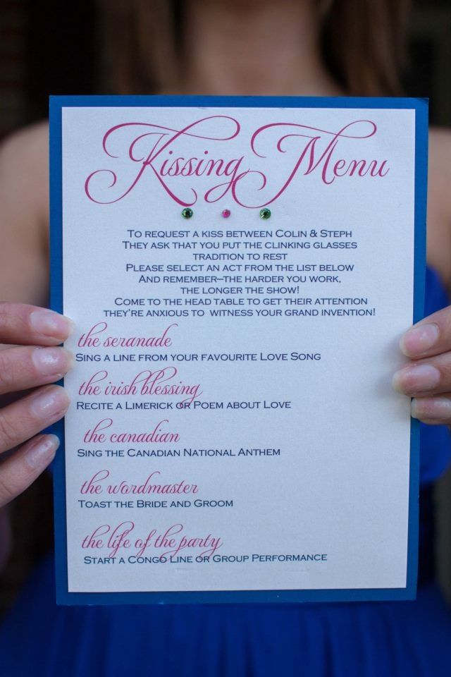 Destination Wedding DIY Kissing Menu - placed on each table at the dinner reception (Carnival Liberty & Lindquist Beach, St Thomas USVI wedding - Island Bliss Weddings) For more information email Goodtoglow (at) gmail.com