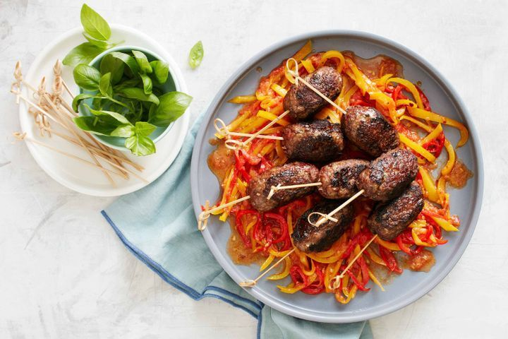 Rosemary beef skewers with melted capsicums