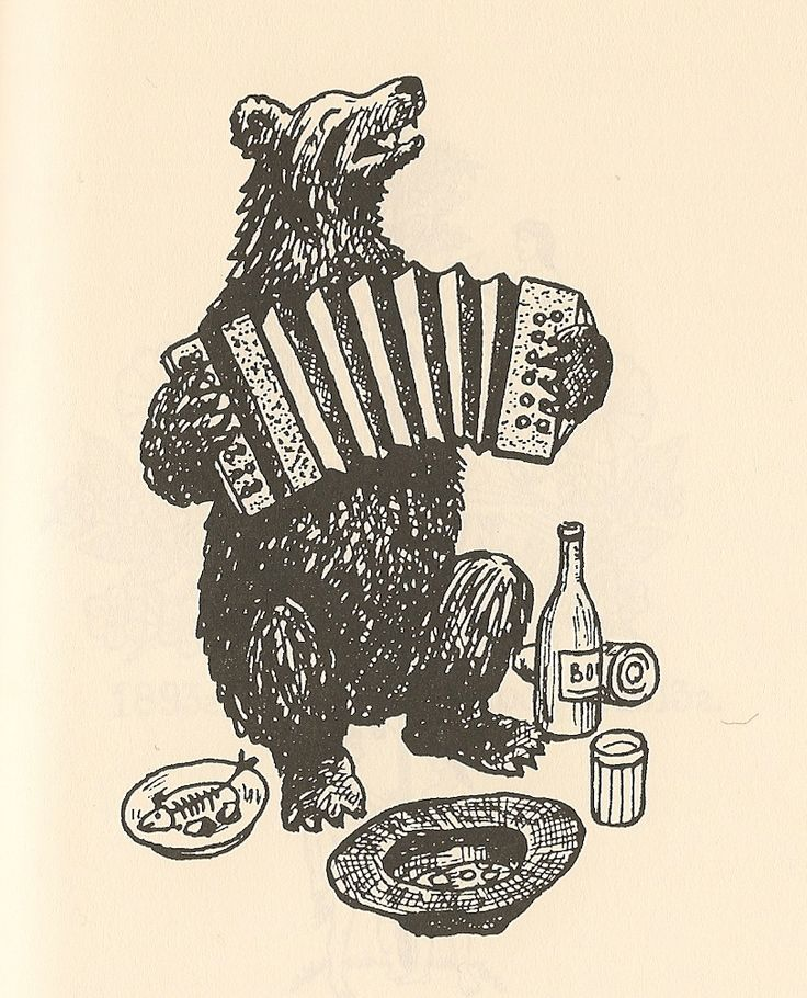 A humourous hooligan tattoo, typical in corrective labour camps in the north and the Taiga. The most common name for this tattoo is 'Misha the accordion player'. The wearer was convicted for hooliganism.