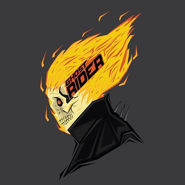 Ghost rider Art inspired by @bosslogic  #popheadshots #theturtlecrusher #ghostrider
