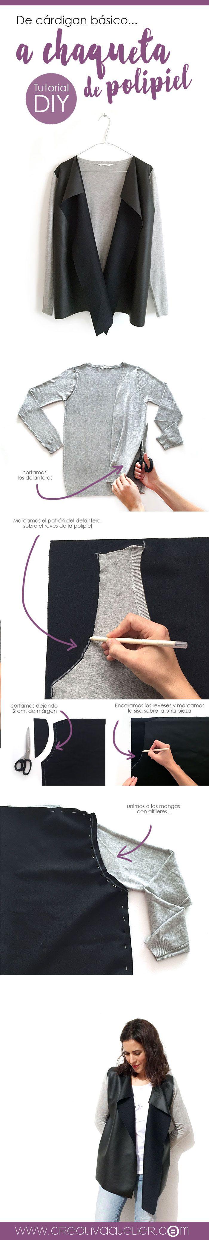 Chaqueta de punto y polipiel transformando un cardigan básico -DIY- Tutorial paso a paso, más detalles y fotos en el enlace.
