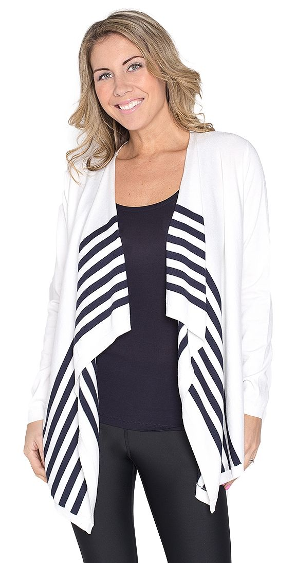 """Stripes Ahoy Cardi - ivory and navy. This Stripes Ahoy Cardi has a classic feel and is thoroughly refined. This lightweight cardi will become a spring time staple in your wardrobe due to its versatility and fresh look.  Model is wearing a S Long sleeve Open cardi Navy stripe detail Approx 20"""" length fr shoulder to hem 80% Viscose 20% Nylon"""