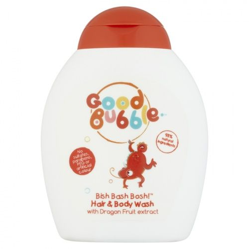 """""""Good Bubble Dragon Fruit Hair & Body Wash 250ml  Scrub 'em up good and quick with Good Bubble Bish Bash Bosh! Hair & Body Wash with Dragon Fruit extract. Jam-packed with antioxidants, the moisturising Dragon Fruit extract helps nourish young hair and skin and keep them safeguarded from harmful outside elements.  Good Bubble Dragon Fruit Hair & Body Wash is made with 98% natural ingredients and an allergen free fragrance.""""…"""