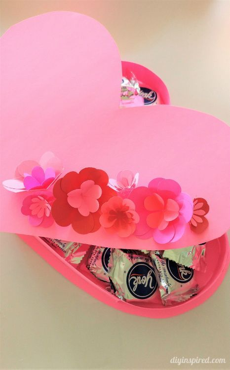 DIY Valentine Heart Box with Paper Flowers with Video Tutorial