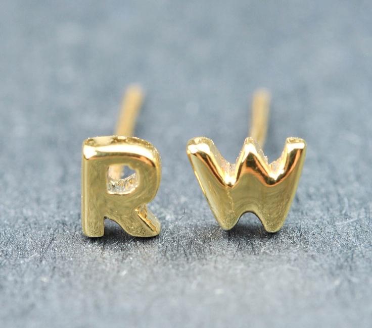 Initial earrings, letter earrings, sterling silver earrings, personalized earring, alphabet earring, stud earring, name earring, gold plated etsy