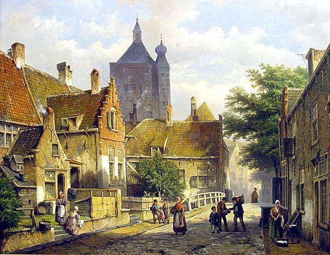 Willem Koekkoek (1839-1895) Villagers on a Sunlit Dutch Street