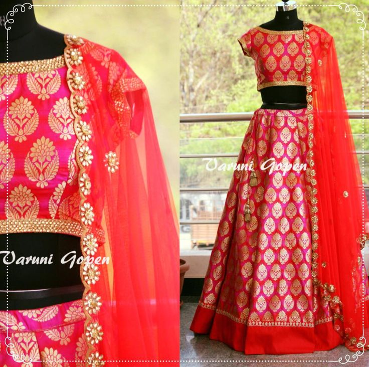 Red pink Banarasi Lehenga setFor price details mail to varunigopen@gmail.comwhatsapp 9849125889 13 March 2017