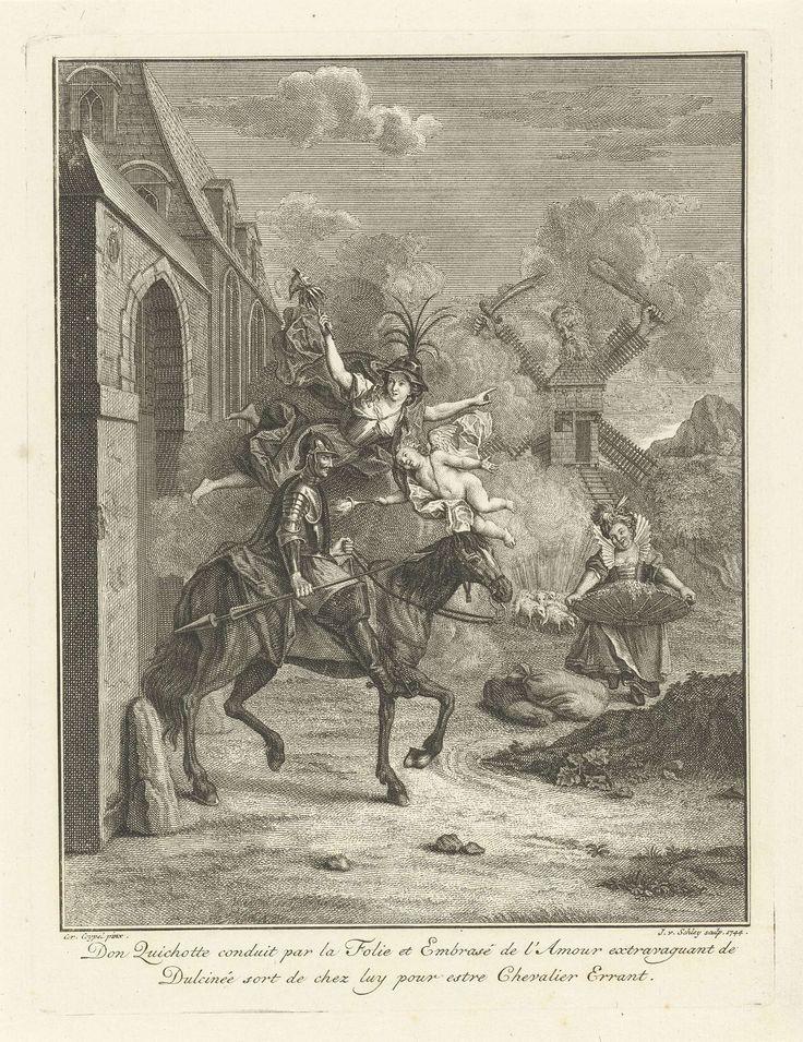 Jacob van der Schley | Don Quichot door Liefde en Zotheid geleid, Jacob van der Schley, 1744 | Personificaties van Liefde en Zotheid (met in haar hand een narrenstok) leiden Don Quichot op zijn paard langs ongebaande paden. De windmolen op de achtergrond ziet Don Quichot aan voor een reus.