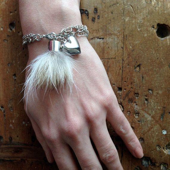 "Recycled fur coyote bracelet ""Attache-moi!"" 17.5cm - BCSV-003"
