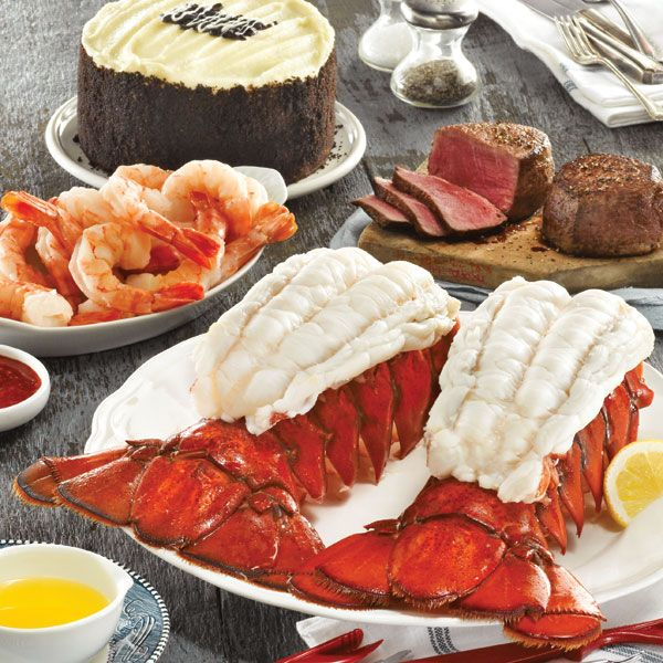 Colossal Lobster Feast with GIANT Maine lobster tails, Filet Mignon steaks, Colossal shrimp and Chocolate Velvet cake.