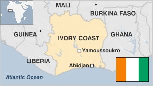 Part 1 #1a and 1b.  Ivory Coast or Côte d'Ivoire is officially  known as the Republic of Côte d'Ivoire. This country is located in the continent of West Africa. It borders the countries Liberia, Guinea, Mali, Burkina Faso, and Ghana. Its southern boundary is along the Gulf of Guinea and the Atlantic ocean