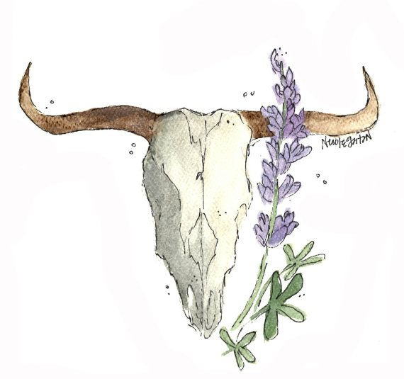 Texas Longhorn Skull with Blue Bonnet Texas by NicoleGaitanArt
