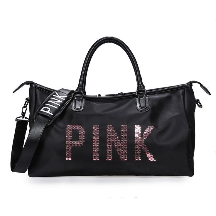 Waterproof Women Gym Bag Sequin Pink Letters Big Capacity Fitness Sports Handbag Short Traveling Shoulder Bag Middle Size