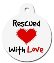 Rescued With Love Dog ID Tag