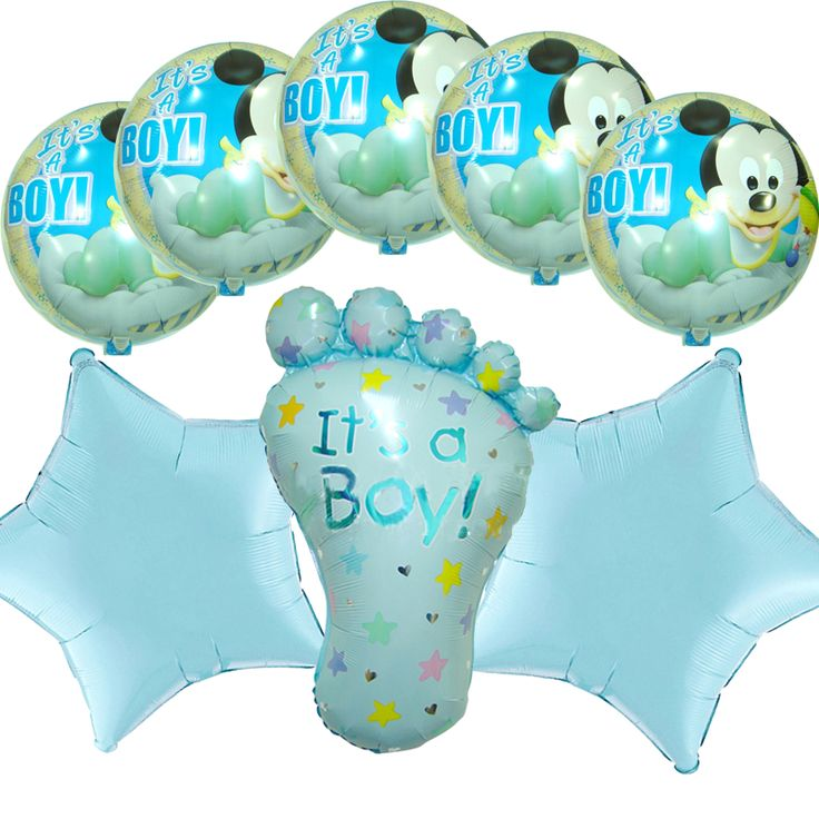 Baby Shower Party Supplies Mickey Mouse Foil Balloons Bouquet Cute Itu0027s A  Boy