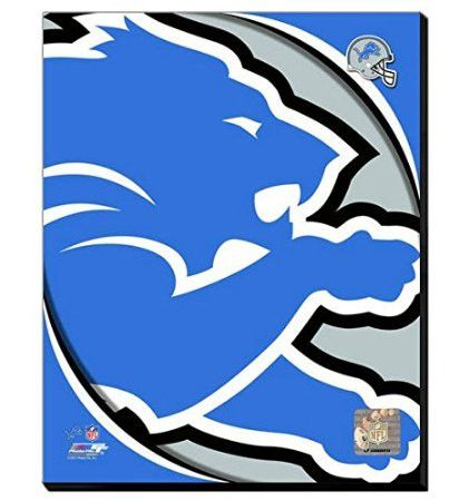 Detroit Lions Team Logo Canvas Framed Over With 2 Inches Stretcher Bars-Ready To Hang- Awesome & Beautiful
