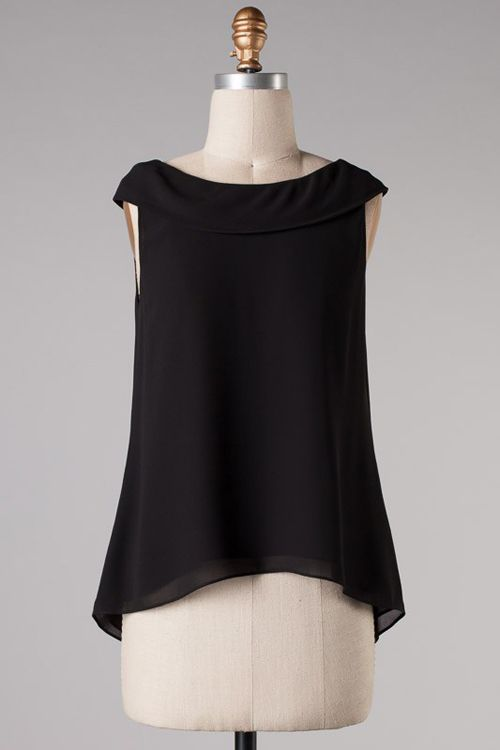 Layered Chiffon Jackie Top in Black (perfect for so many body types)