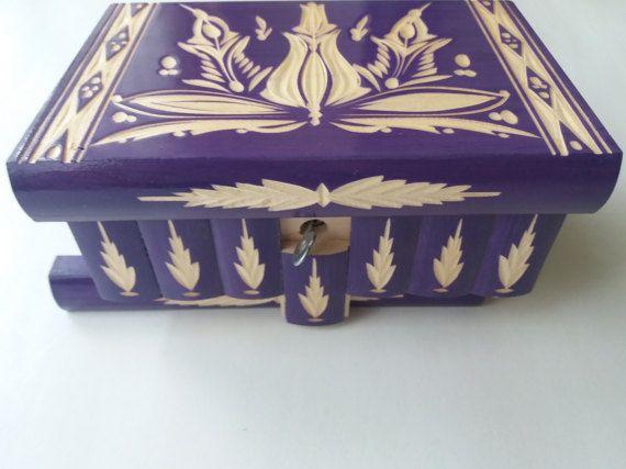 New big purple wooden jewelry storage box,magic box,mystery box,special puzzle box,secret tricky box,handcarved box,home decor,perfect gift