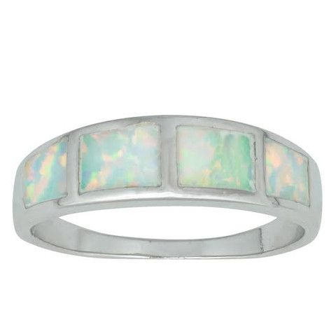 R028035 - Sterling Silver and White Opal Band
